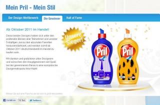 Die Website des Pril-Wettbewerbs
